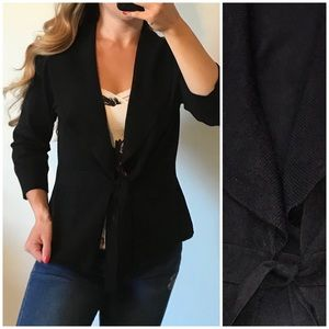 WHBM Black Tie Front Soft Cozy Cardigan Sweater L